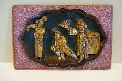 Mt5 Old Chinese Carved And Gilt Wood Plaque, Peking Opera Scene