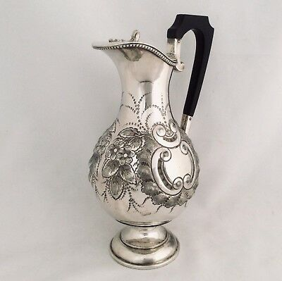 Superb Antique Early Victorian Repousse Silver Plated Claret Jug Wine Ewer C1850