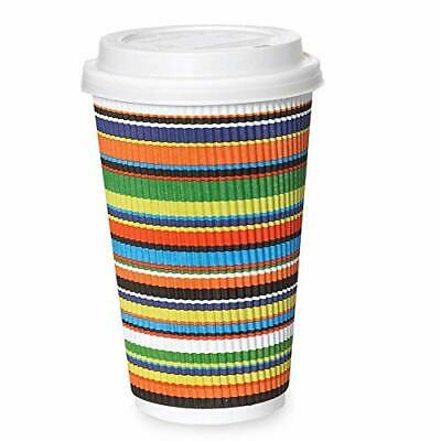 50 Pack - 16 oz Disposable Coffee Cups with Lids - To Go Hot Coffee Cup, Insulat