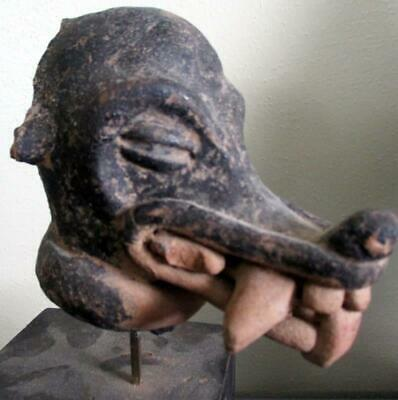 Old Pre-Columbian Animal Head Sculpture On Stand