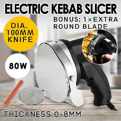 Kebab Cutter Meat Slicer w/ 1 Extra 100mm Blade Electric Cutter Stainless Knife