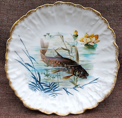 Rainbow Trout French Artist Limoges Hand Painted Scalloped Plate Gilt 1880
