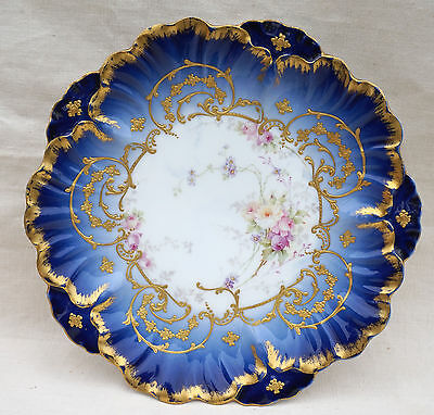 French Limoges Porcelain Gold Blue Hand Painted Plate Louis XV Style Laviolette