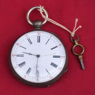 French 8 Jewels Sterling Silver Open Face Pocket Watch Key 1900