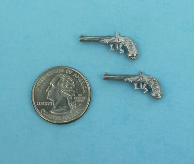 NICE Dollhouse Miniature 1:12 Scale Pair of 2 Dueling Pistols/Guns #WCMA33