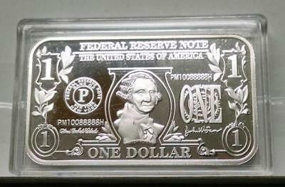 "1 Troy Oz .999 Fine Silver ""$1 One Dollar Bill"" Design Bullion Bar In Capsule"