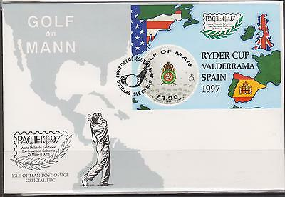 GB - ISLE of MAN 1997 Golf on Man/Ryder Cup/PACIFIC '97 £1.30 M/S SG MS759 FDC