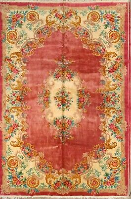 Palace Sized Floral Rose Pink 12x18 Art Deco Peking Chinese Oriental Area Rug