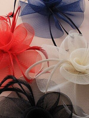 Black Looped Net Fascinator On A Hair Clip & Brooch Pin  Free Postage