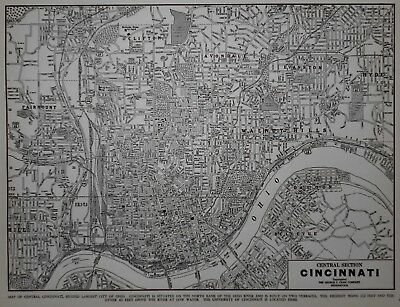 Vintage 1940 World War WWII Era Atlas City Map Cincinnati, Ohio OH Black & White