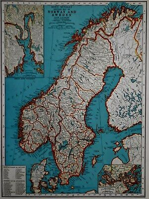 Vintage 1941 Atlas Map World War WWII Norway, Sweden & Central Europe Inset Oslo