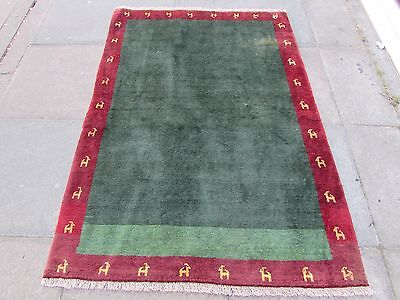 Old Traditional Hand Made Persian Oriental  Wool Green Red Gabbeh Rug 168x117cm