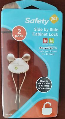 1 Safety 1st 2 Pack Set Side By Side Cabinet Lock White Knob Locks Baby Proofing