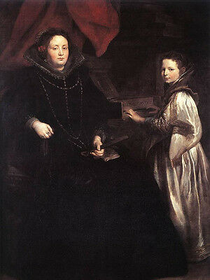 Oil Anthony van Dyck Portrait of Porzia Imperiale and Her Daughter Hand painted