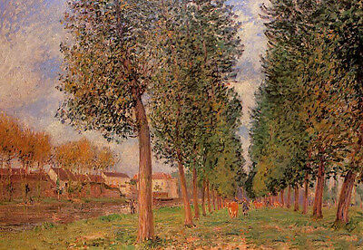 Art Oil Alfred Sisley - The Poplar Avenue at Moret, Cloudy Day, Morning canvas