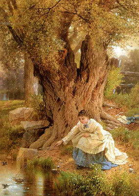 Huge Oil painting Albert Fitch Bellows - Safely Landed young girl under the tree