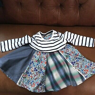 Baby Girls Next 9-12 Months Floral Denim Spring Long Sleeved Dress 100% Cotton