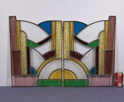 Pair of Antique French Stained Glass Panels with Copper Frames & Leaded Glass
