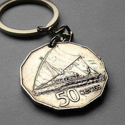 Fiji 50 cents coin key chain Fijian Polynesian boat ship sail Suva beach n001760