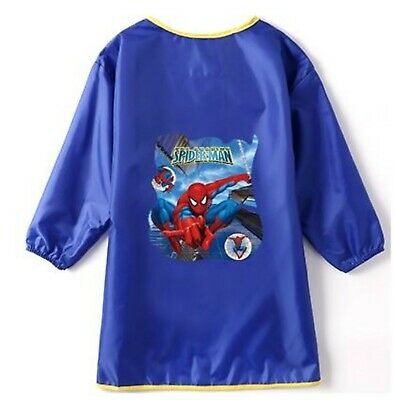 Kid Boy Children water resist Spiderman Bib School Apron Art Paint Smock Shirt