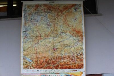 Old Schulwandkarte Role Map Wall Chart Bavaria Geographisch Vintage 1970s