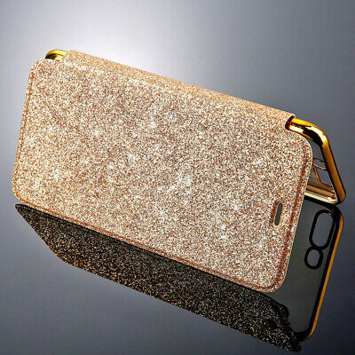 Leather Glitter Flip Bling Wallet Stand Cover Case for iPhone 7 6s 8 Plus X 10