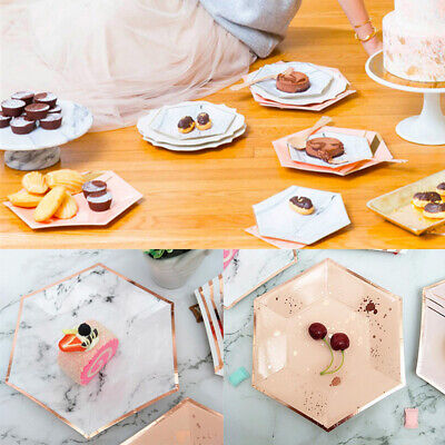 8Pcs/Pack Disposable Marble Design Plate Disk Dish Paper Plate Party Tableware