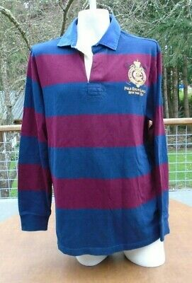 8c899e3da Mens Large Polo Ralph Lauren LS Rugby Shirt Red Blue Striped Crest  Equestrian