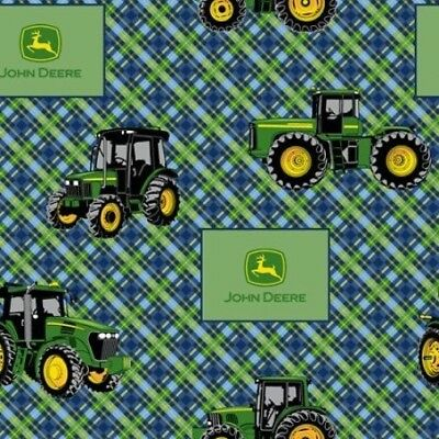 John Deere Farm Tractor Flip Green Cotton Fabric Springs CP58049 By The Yard