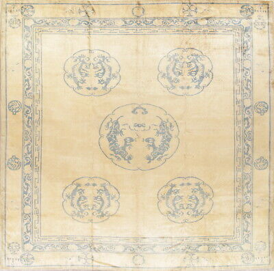 Pre-1900 Vegetable Dye Antique Dragon 11x13ft Art Deco Chinese Oriental Area Rug