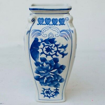 """12"""" TALL Large Vintage Chinese Blue & White Porcelain Vase Hand Painted."""