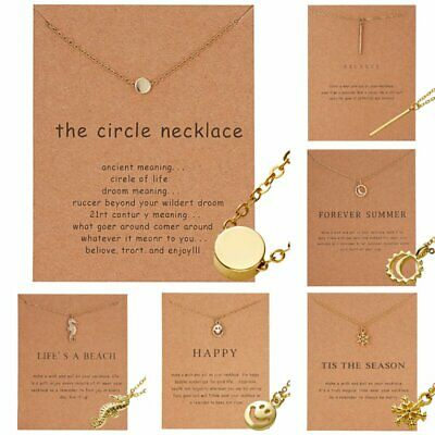 Fashion Women Smile Clavicle Choker Paper Card Necklace Pendant Gold Chain Gift