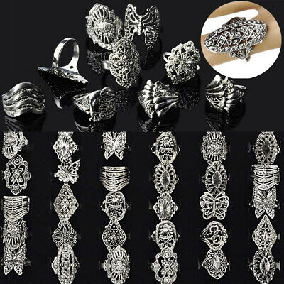 80/100pcs Wholesale Bulk Jewelry Lots Mixed Style Tibet Silver Vintage Rings US