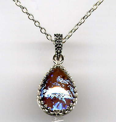 RARE BLUE FIRE OPAL Dragons Breath Teardrop Necklace *925 STERLING SILVER CHAIN