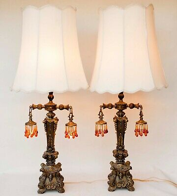 Pair of Vintage Large Hollywood Regency Metal Column Lamps 3 lights Prisms