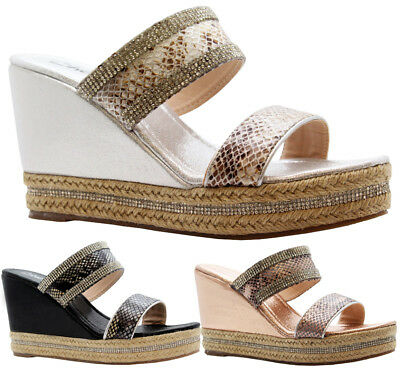 Ladies Womens Strap Diamante Espadrilles Platform High Wedge Sandals Shoes Size