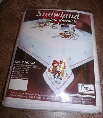 "Tobin Stamped Tablecloth SNOWLAND Snow Family Embroidery 58"" x 104"""