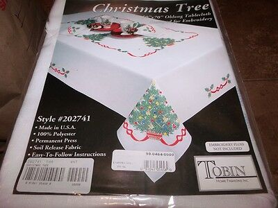 "Tobin Stamped Cross Stitch Embroidery Tablecloth CHRISTMAS TREE 58"" ROUND"