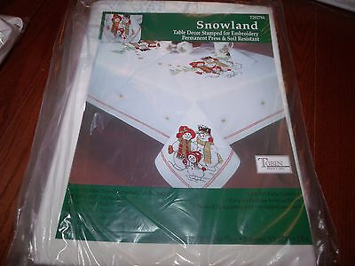"""Tobin Stamped Cross Stitch Embroidery Tablecloth SNOWLAND Snow Family 50"""" x 70"""""""