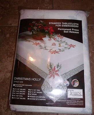 "Tobin Stamped Cross Stitch Embroidery Tablecloth CHRISTMAS HOLLY 68"" x 90"""