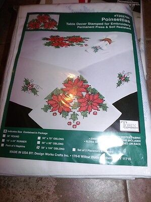 "Tobin Stamped Cross Stitch Embroidery Tablecloth POINSETTIAS 58"" x 104"""