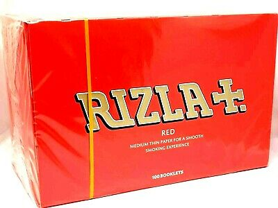 Rizla Red Medium Regular Cigarette Rolling Papres Full Box Of 100 Booklets