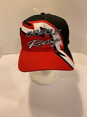 5dcab178 Deadstock Rare VINTAGE CHEVROLET Racing Adjustable SnapBack Red Black Hat