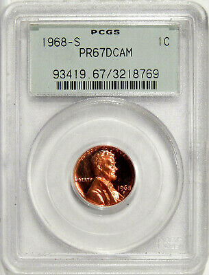 1968-S 1c PCGS PR-67 DCAM OGH ~ PROOF LINCOLN CENT IN OLD GREEN HOLDER