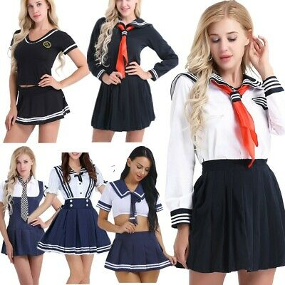 Women Japanese School Girl Cosplay Sailor Uniform Outfit Set Costume Fancy Dress
