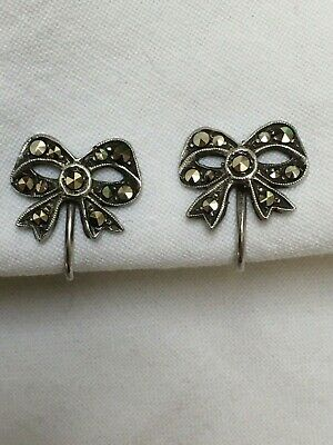 Antique Art Deco C1920s - 1930s 835 Silver marcasite small bow screw on earrings