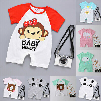 Unisex Newborn Baby Boy Girl Cartoon Infant Rompers Jumpsuit Outfits Clothes Hot