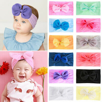 Baby Girls Headbands Nylon Hair Band Knot Flower Wide Bow Turban Head Wraps New
