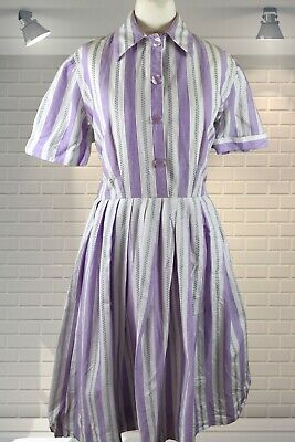 Adorable Vintage 1950s Full Skirt Shirtwaister Day Dress Textured Cotton - Small