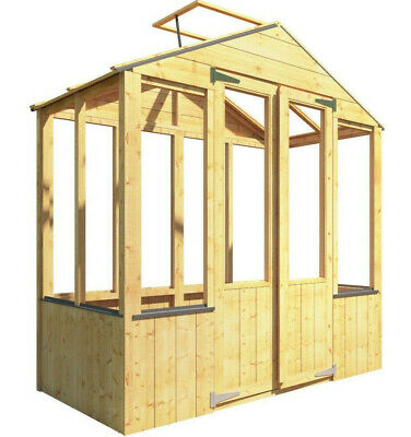 Lincoln Wooden Garden Greenhouse Clear Wall Double Door Apex Opening Roof Vent